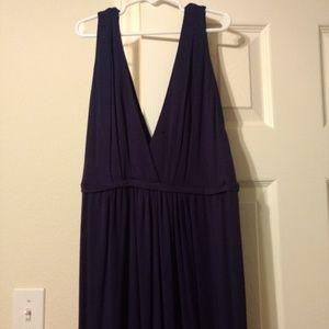 Navy deep v neck maternity maxi dress